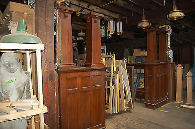 Awesome Antique Arts & Craft Oak Colonnade With Bookcase, Room Divider