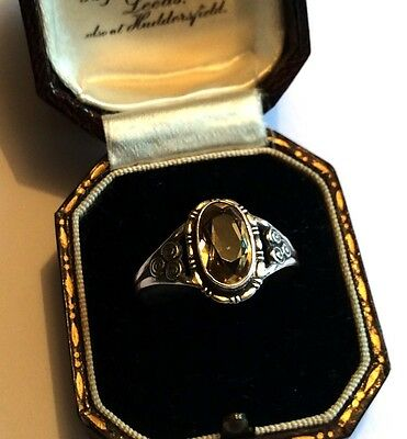 Vintage Arts & Crafts sterling silver ring w citrine, prob German