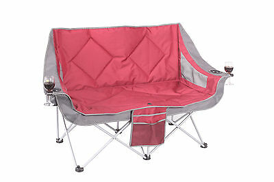 Oztrail Double Galaxy Sofa 2 Seat Lounge Arms Folding Camping Outdoors  -Maroon