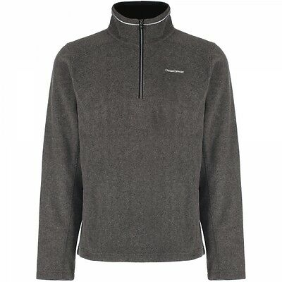 Craghoppers Mens Corey Half Zip Fleece Jumper in Black Pepper / Grey - 2XL