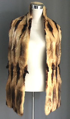 VINTAGE UNIQUE SO SOFT FUR STOLE Brown/Beige Lined - Mint Condition
