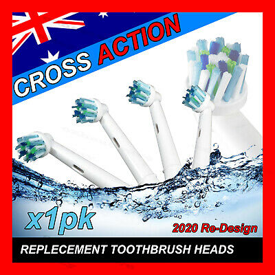 CROSS ACTION Oral B Compatible Electric Toothbrush Replacement Brush Heads x4