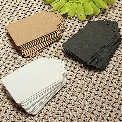 100pcs 7x4cm Kraft Paper Gift Tags Wedding Scallop Label Brown Blank Luggage US
