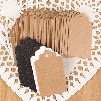 100pcs 7x4cm Kraft Paper Gift Tags Wedding Scallop Label Brown Blank Luggage UK