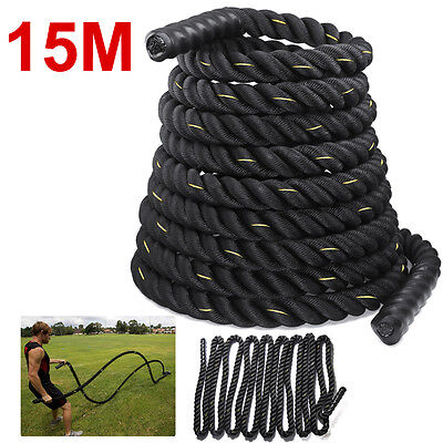 38MM 15M Sports Training Battling Battle Power Rope Bootcamp Exercise Fitness