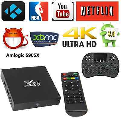 NEW X96 Smart Android 6.0 TV BOX 16.1 FULLY LOADED WIFI+Keyboard Backlit I8