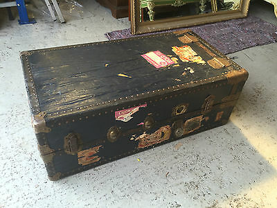 Unique Vintage Suitcase / Chest / Trunk with interior hangers and cabinet - AD