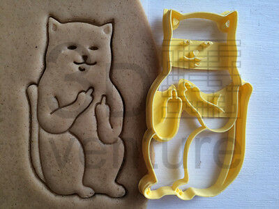 Cookie Cutter Cat with middle finger sceptical cookiecutter cookies custom shape