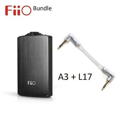 FiiO A3 USB Rechargeable Portable Headphone Amplifier+ L17 Line-out Cable BUNDLE