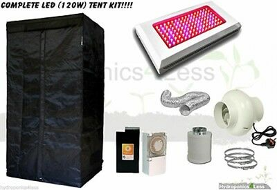 Complete Hydroponic Grow Room Tent Fan Filter Light Kit LED 120w 80x80x180