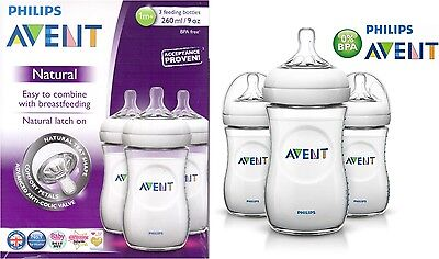 Philips AVENT SCF693/37 Natural Feeding Bottle TriplePack 3X260ml/9oz Bottle Set