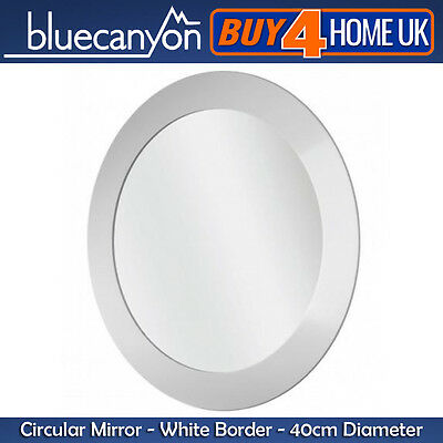 Blue Canyon White Edge Round Bathroom Mirror - Wall Mounted 40cm Diameter Circle