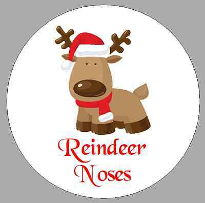 24 x 40mm Stickers Round Christmas Cute Reindeer Noses White Labels