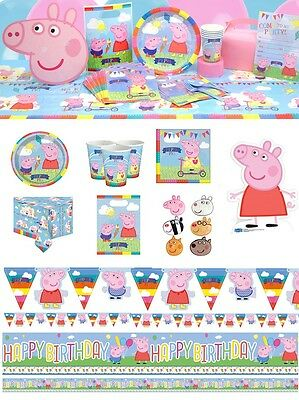 Peppa Pig George Birthday Party Supplies Plates Napkins Cups Banners Tablecover