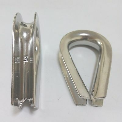 """2 x 1/4"""" Wire Rope Cable Thimble Marine Grade 316 Stainless Steel Heavy Duty"""