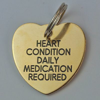 Quality Engraved Pet ID tag  - Large 30mm Heart BRASS tag • EUR 6,50