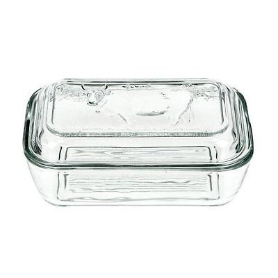 New  Storage Glass Embossed Cow Design  Lid  Butter Dish