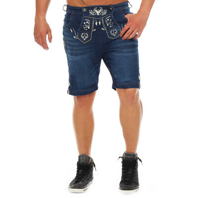 Wanderwald Men's Denim Shorts Premium Falke Costume Jeans Leather Trousers Style