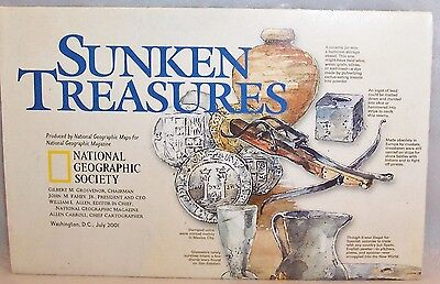 "2001 National Geographic Map-SUNKEN TREASURES-31"" w x 20"" tall-Great Condition"