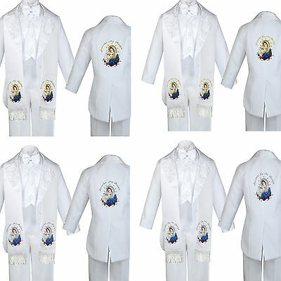 Boy Baby Baptism White Tail Tuxedo Embroidery Virgin Mary Maria Pope Stole Sm-7