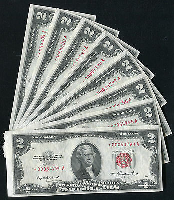 (8) Consecutive 1953 $2 Two Dollars *star* Usn United States Notes Gem Unc
