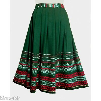 GERMAN Austrian Vintage Folk Embroidered Festival Skirt Oktoberfest Costume XS