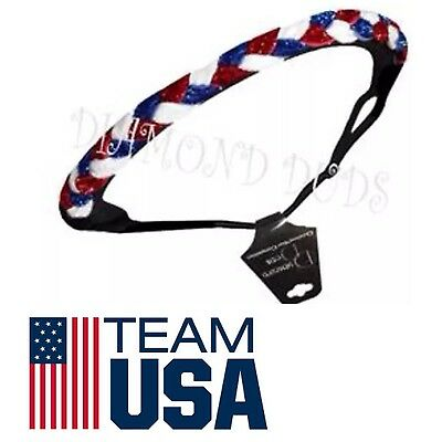 Sparkly USA Olympic Colors Braided Headbands Red White Blue Adjustable