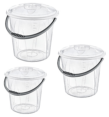 Small Large Clear Plastic Bucket With Lid Storage Container Box Bin Caddy #BE