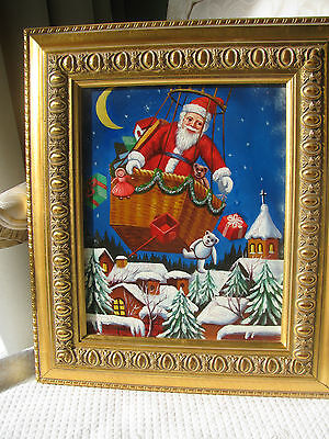 Christopher Radko  Oil Painting SANTA in a HOT AIR BALLOON