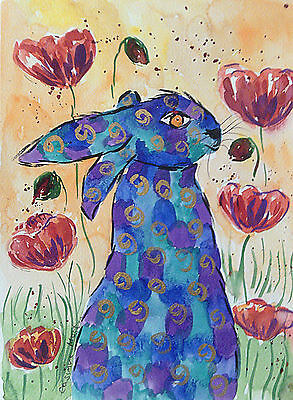 "Fridge Magnet, Quirky Blue Hare among flowers large  4.25"" by 5.5"""