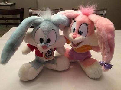 "TINY TOON ADVENTURES Vintage 1995 Buster and Babs Bunnies Plush 18"" Stuffed Toy"