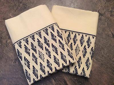 "WABASSO Vintage King Bed Pillowcase Set of 2 Tan Cream Navy 22"" x 44"" MINT!!"