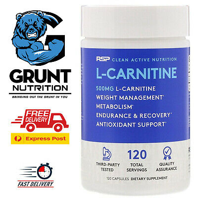 RSP Nutrition L-Carnitine 120 Capsules L-CARNITINE TARTRATE  FREE EXPRESS POST