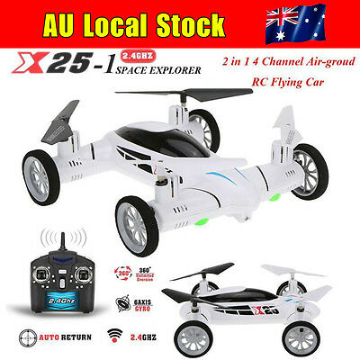 Flying Car 4CH 6-Axis 2.4G Remote Control X25-1 Drone Quadcopter RTF Toys White