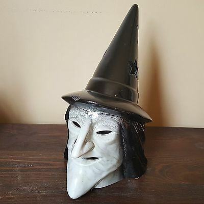 Halloween Ceramic Glazed Ugly Witch Head Hat Candle Holder Light Cover