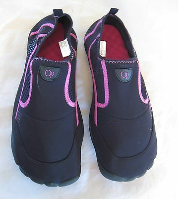 Ocean Pacific -Black w/ Pink Fabric Water Shoes-Cushioned Soles - Sz XL (11-12)