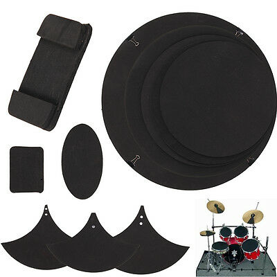10PCS Drum Silencer Bass Snare Practice Pad Thickness Rubber Foam Black UK