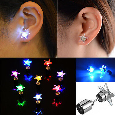 Led Light Up Earrings Accessories Bling Ear Studs f Halloween Xmas Party Unisex