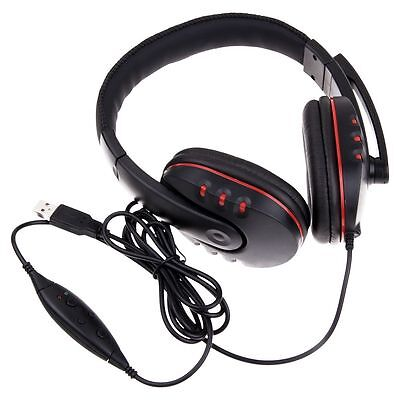 New Stereo USB Headset Earphone with Microphone AU Stock for Sony PS3 PC