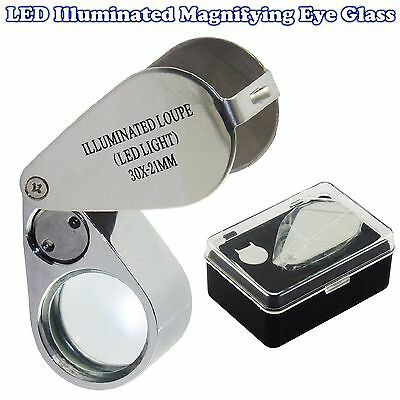 LED 30X21mm Illuminated Jewellers Jewellery Loupe Magnifying Glass Eye Lens UK