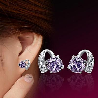 Women's 925 Sterling Silver Earrings Charm Amethyst Ear stud fashion jewelry