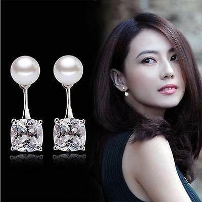 Women's 925 Sterling Silver Earrings Crystal Pearl Ear Stud Fashion jewelry Gift