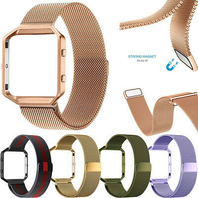 Milanese Magnetic Loop Stainless Steel Watch Band Metal Frame For Fitbit Blaze