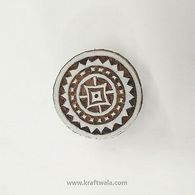 Indian Wooden Printing Stamp Round Hand Carved Textile Fabric Art Block