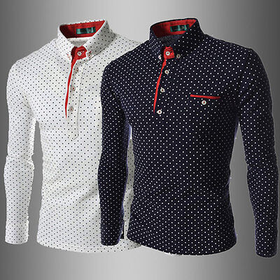Men Fashionable England Style Long Sleeve Wave Point Printed Polo Shirt ZD