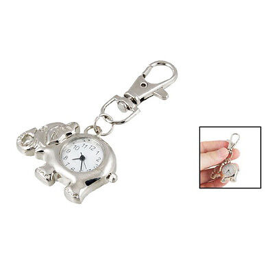 Elephant Shaped Arabic Number Round Dial Watch Key Ring KeychaIn SH