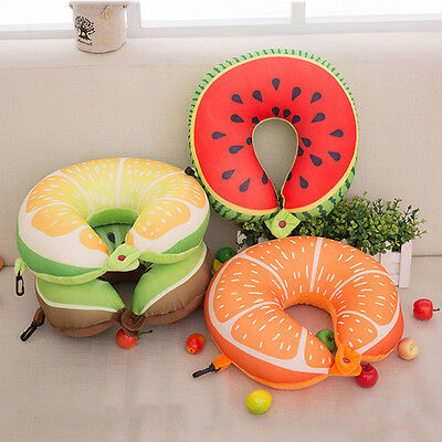New Foam U Shaped Cartoon Fruit Travel Pillow Cushion Neck Support Headrest JN
