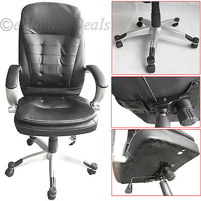 Luxury Extra Padded PU Leather Executive Office Chair Swivel Computer Desk Seat