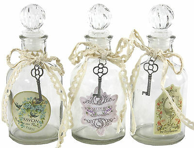 Set Of 3 Small French Style Decorative Glass Bottles OG300