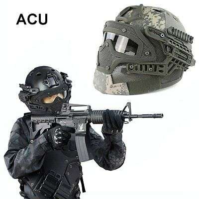 Adjustable Airsoft Tactical Combat Fast Helmet with Protective Mask Googles ACU